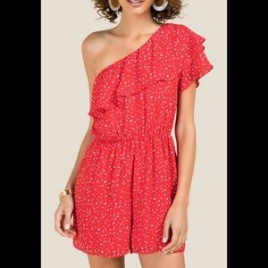 Francesca Everly Diana red polka dot one shoulder
